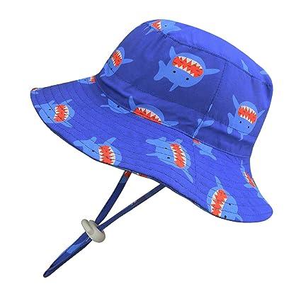 8ccd67b0 Baby Kids UPF 50+ Sun Hat Fisherman Hat, Cotton Bucket Hats UV Sun  Protective (Dark Blue, 21.25