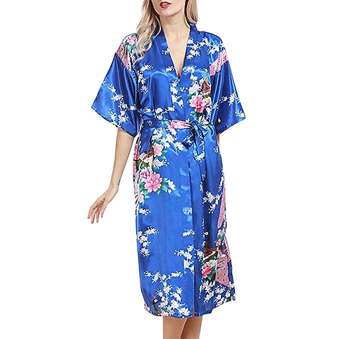 Sidiou Group Bata de Satén Vestido Kimono Largo Mujer Camisón Pijamas Ropa de Dormir Albornoz Saten