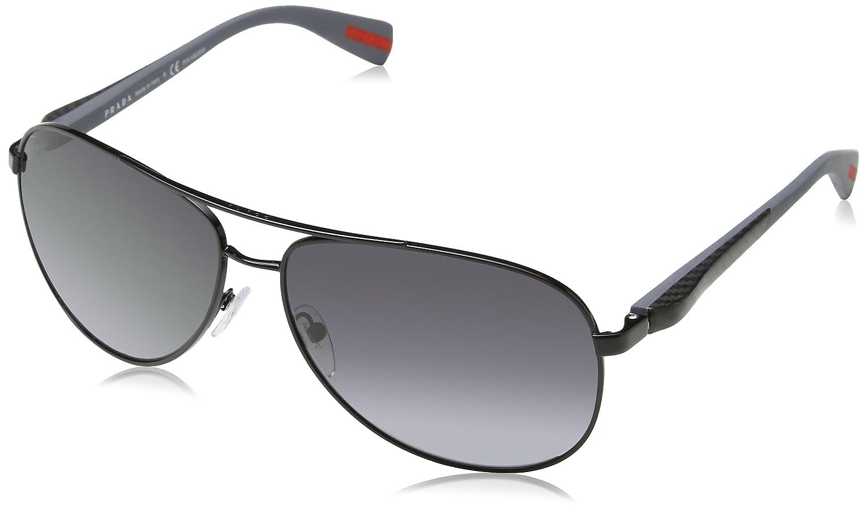7dc60ee515224 Prada Men s Polarized PS51OS-7AX5W1-62 Black Aviator Sunglasses  Prada   Amazon.ca  Watches