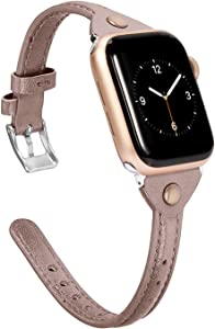 Wearlizer Thin Tan Leather Compatible with Apple Watch Bands 42mm 44mm for iWatch Slim Strap Womens Mens Wristbands Leisure Narrow Bracelet (Metal Silver Buckle) Series 5 4 3 2 1 Nike+ Edition Sports