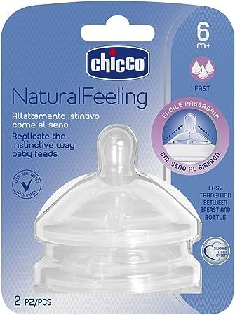 Chicco NaturalFeeling - Tetina inclinada de silicona con flujo rápido para bebé de 6 meses en adelante, 2 unidades