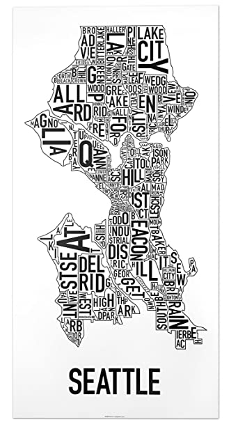 Amazoncom Seattle Neighborhoods Map Art Poster Black White 16