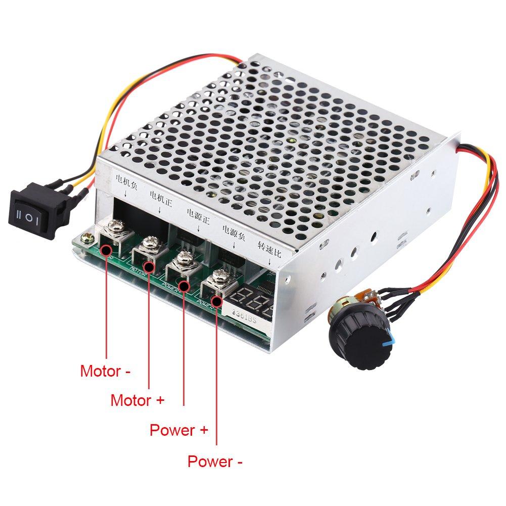 DC Speed Controller Reversible DC 10V 48V 55V 60A Adjustable Motor Driver Module with Digital Display