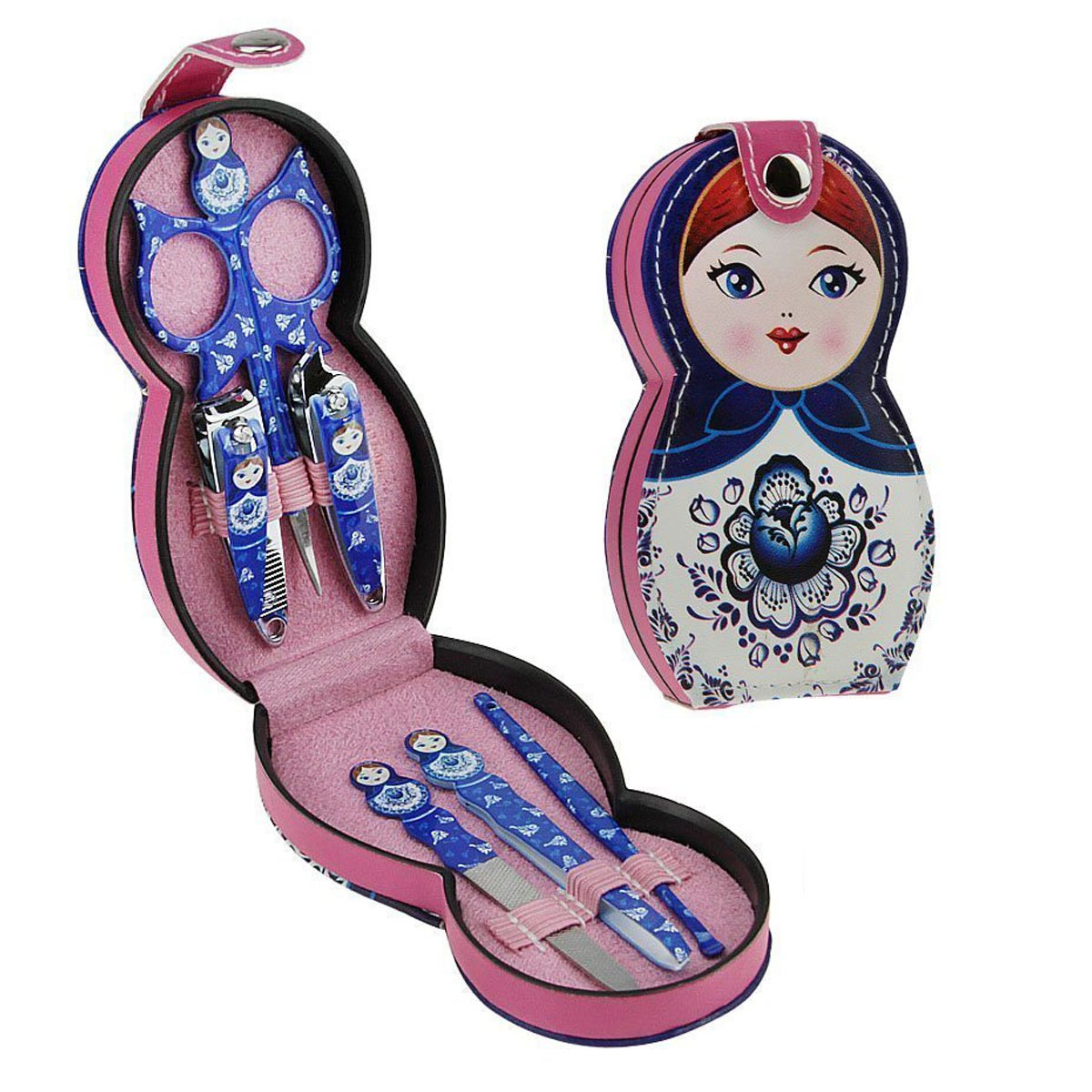 Aibearty Adorable Russian Doll Pattern Stainless Nail Clippers Set of 6Pcs, Professional Grooming Kit, Nail Tools with Luxurious Travel Case by Aibearty