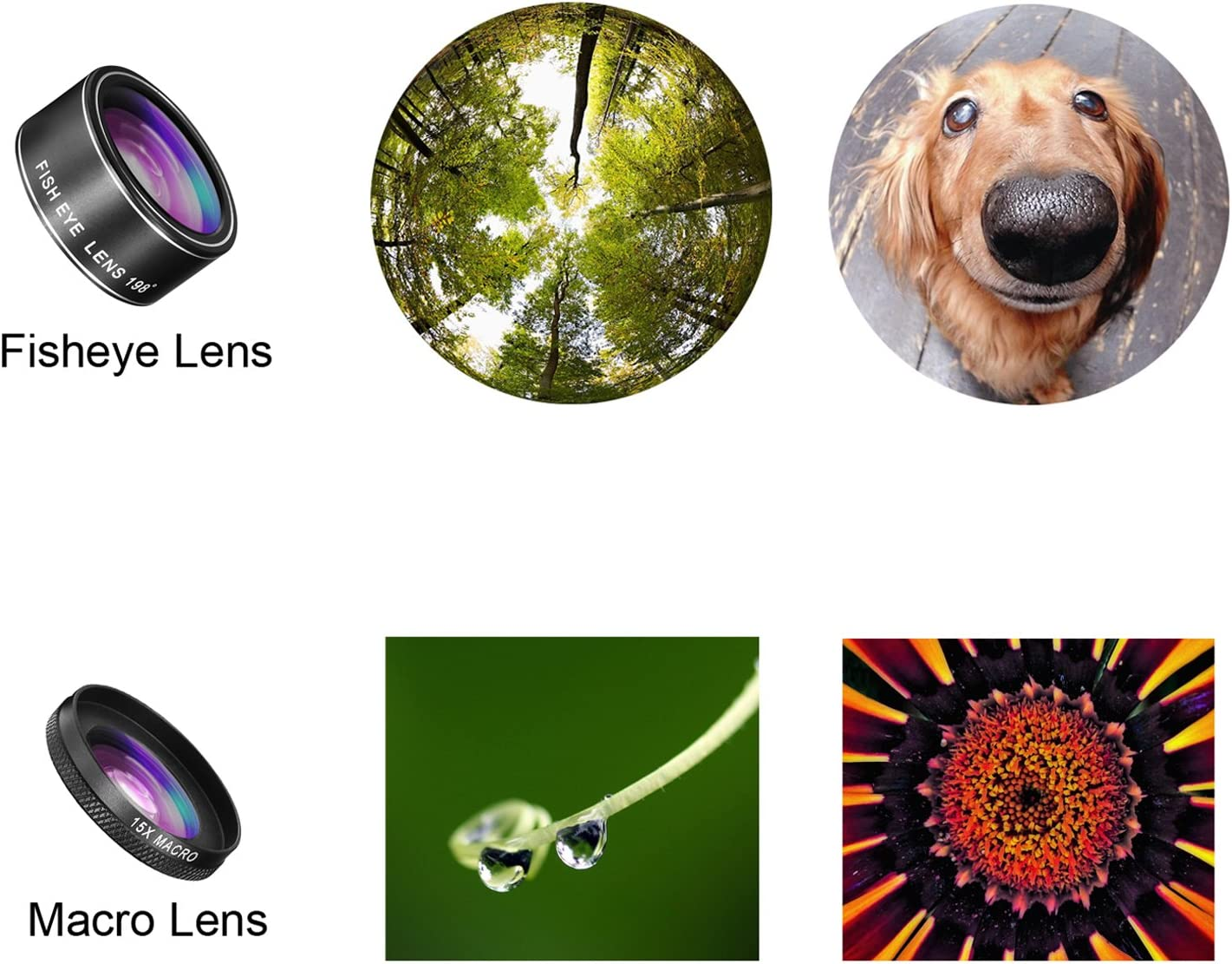 7,6 Cell Phone Lens for iPhone X SE /& Most Smartphones 8 Fisheye Lens, Macro Lens, 0.35X Wide Angle Lens, 2X Zoom Telephoto Lens, CPL 8 Plus TECHO 5 in 1 HD Camera Lens Kit