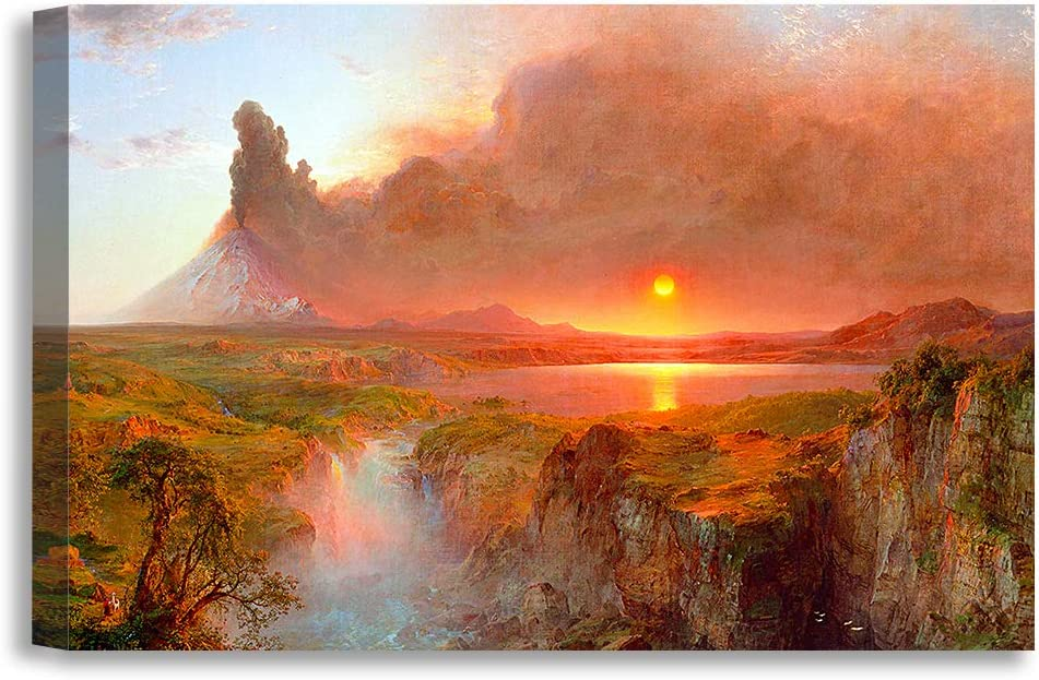 DECORARTS -Cotopaxi, Frederic Edwin Church Classic Art Reproductions. Giclee Canvas Prints Wall Art for Home Decor 36x24