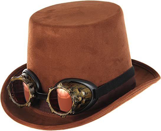 STEAMPUNK VICTORIAN GOTHIC Genuine Brown Black Leather Mens MAD HATTER TOP HAT