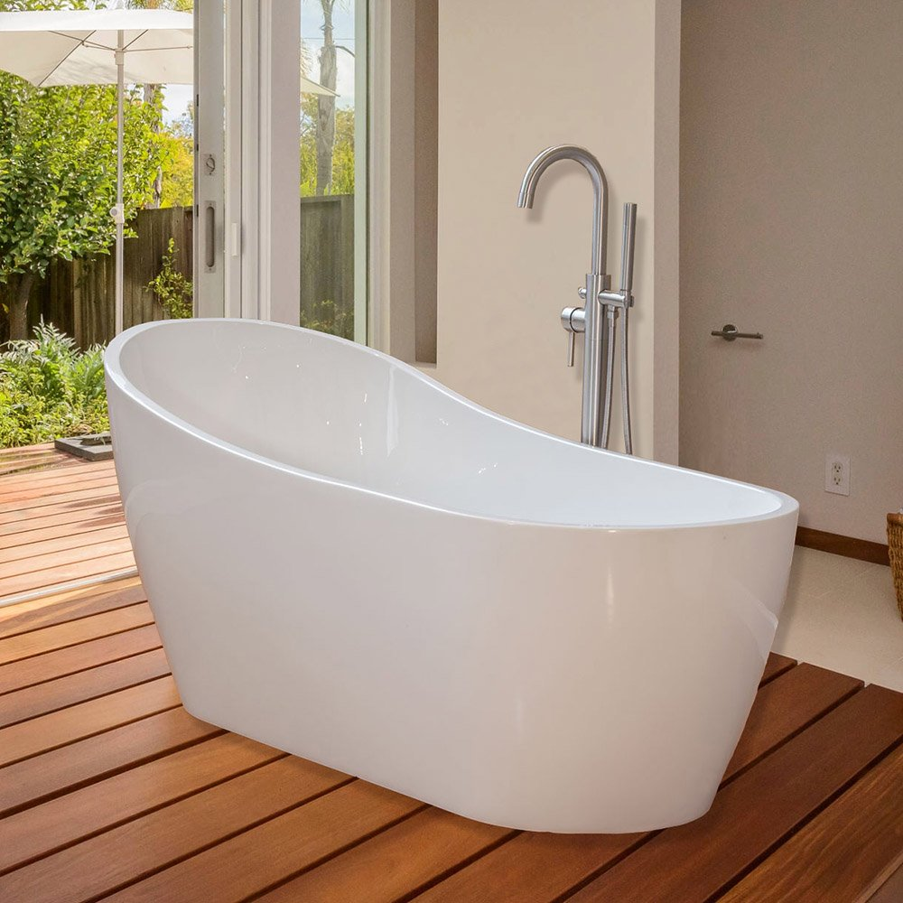 WoodBridge 67\'\' Modern Freestanding Bathtub with Brushed Nickel ...