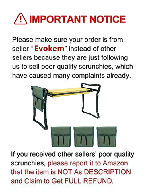 Marvelous Evokem Garden Kneeler Bench Foldable Garden Kneeler Seat With Tool Pouch And Eva Kneeling Pad Handles Yellow Forskolin Free Trial Chair Design Images Forskolin Free Trialorg