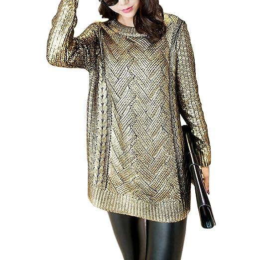 d27e2e5a61a CRAZY Women s Golden Pullover Sweater Tunic Knitwear Shirt Jumper ...