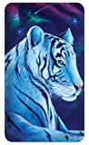 Amped Art Slim 5000mAh Ultra-Compact Portable Power Bank External Battery Pack with Built-in Charging Cable for iPhone, iPad, Samsung Galaxy, Android, and More - White Tiger