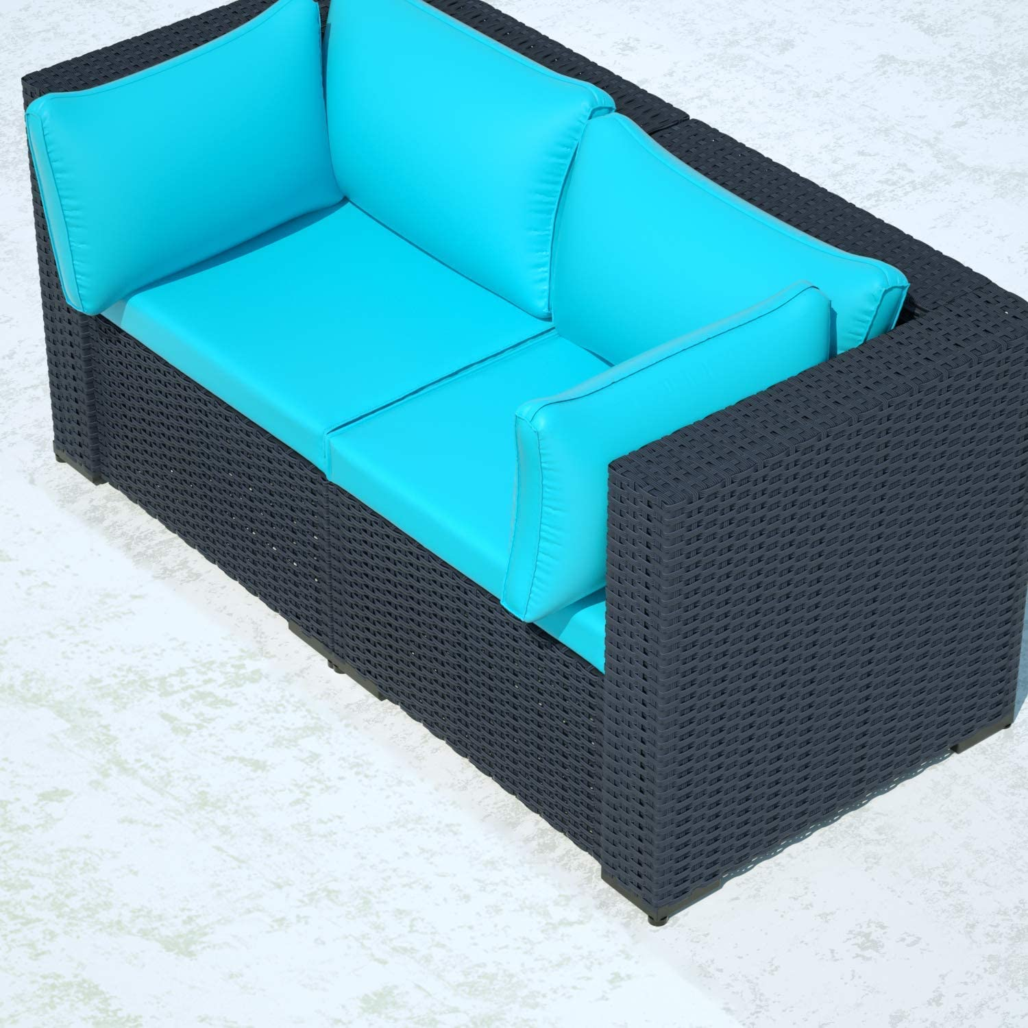 ALAULM 2 Piece Outdoor Patio Furniture Set Modular Loveseat Rattan Sectional Sofa Set All Weather Deck Couch PE Black Wicker Backyard Patio Conversation Chair with Thick Blue Cushions