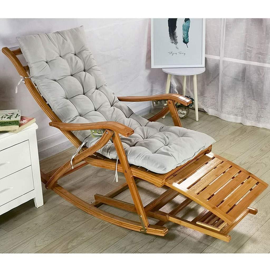 快適なリラックスロッキングチェア調節可能なリクライニングチェア大人用折りたたみ式ランチブレイクロッカー夏シエスタベッド付きアームレストとマッサージフットレスト (色 : 椅子) B07QXG35BZ Chair+mat c  Chair+mat c