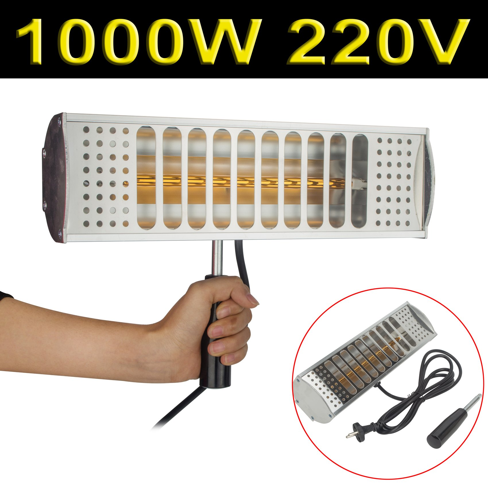 DODOING 220V 1000W Hand Held Infrared Spray Paint Heating Curing Lamp Baking Booth Heater