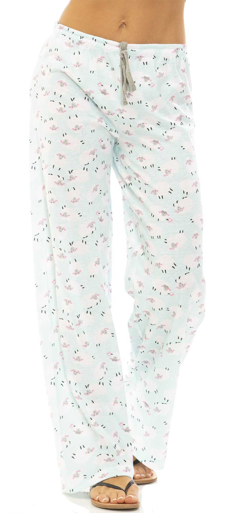 dollhouse (6929BV) Womens Cotton Jersey Drawstring Pajama Bottoms Size: Large in Blue Sheep (421)