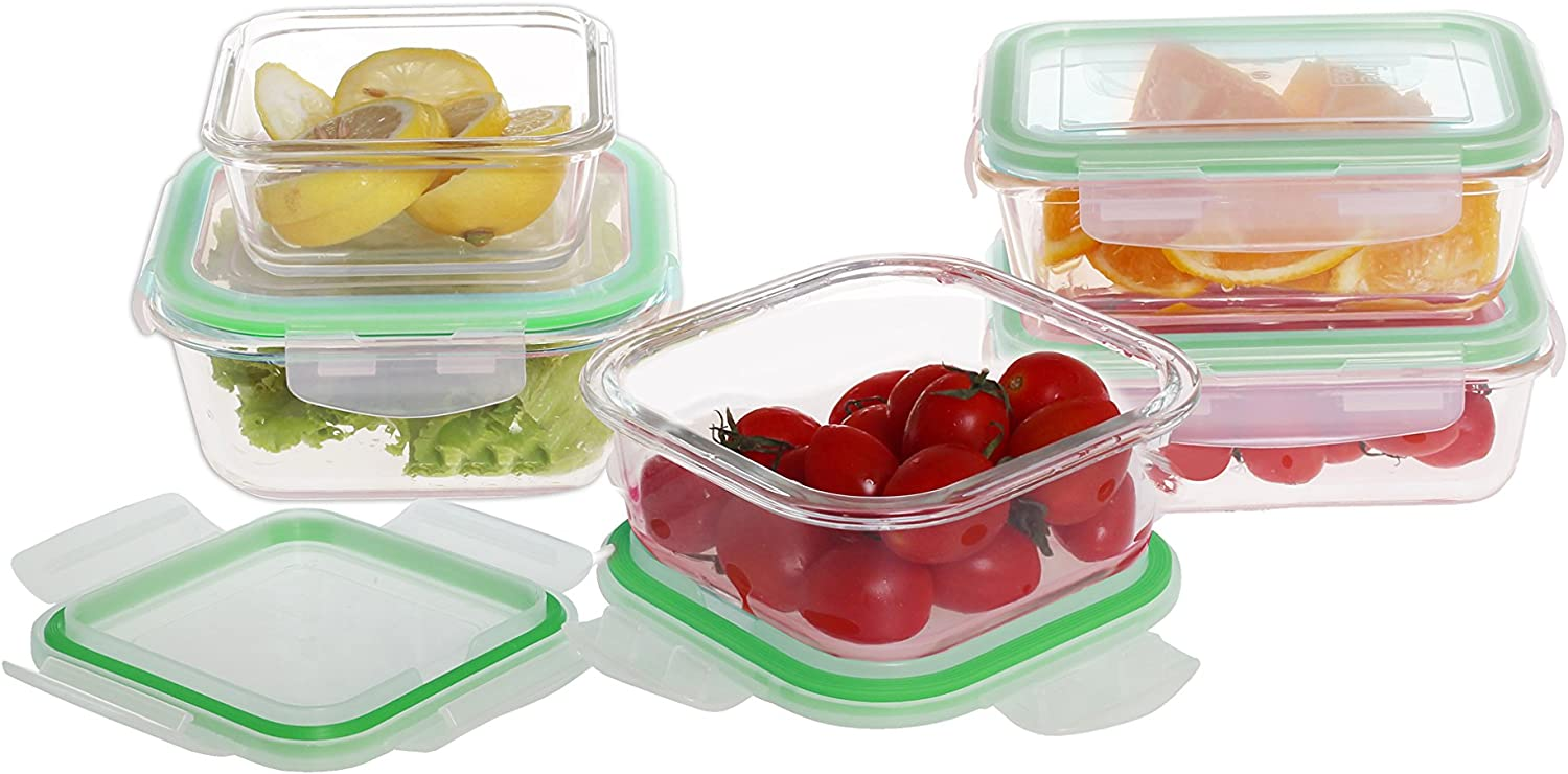Farberware Microwave & Oven Safe Glass Container Food Storage Set with Locking Lids (10 Piece) Clear/Green