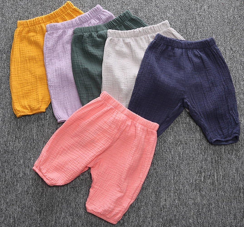 Blue EGELEXY Summer Children Trousers Baby Girls Bloomers Kids Harem Pants Cotton Linen Pants Size 2-3 Years