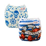 ALVABABY Swim Diapers 2pcs One Size Reuseable &Adjustable 0-24 mo.Size 10-40lbs SWD03-28