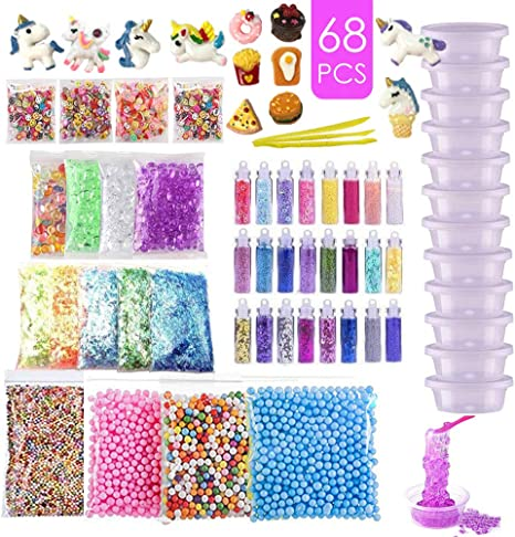 107PCS Slime kit Supplies Stuff Include Foam Beads Fishbowl Beads Glitter Jars
