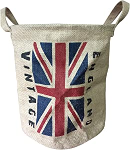 Coralpearl Burlap Woven Storage Basket Collapsible Vintage, Round Jute Food Toy Bucket Organizer with Handles, Small Linen Patriotic Decor Bin for Shelf Table Desk Top, 9.5