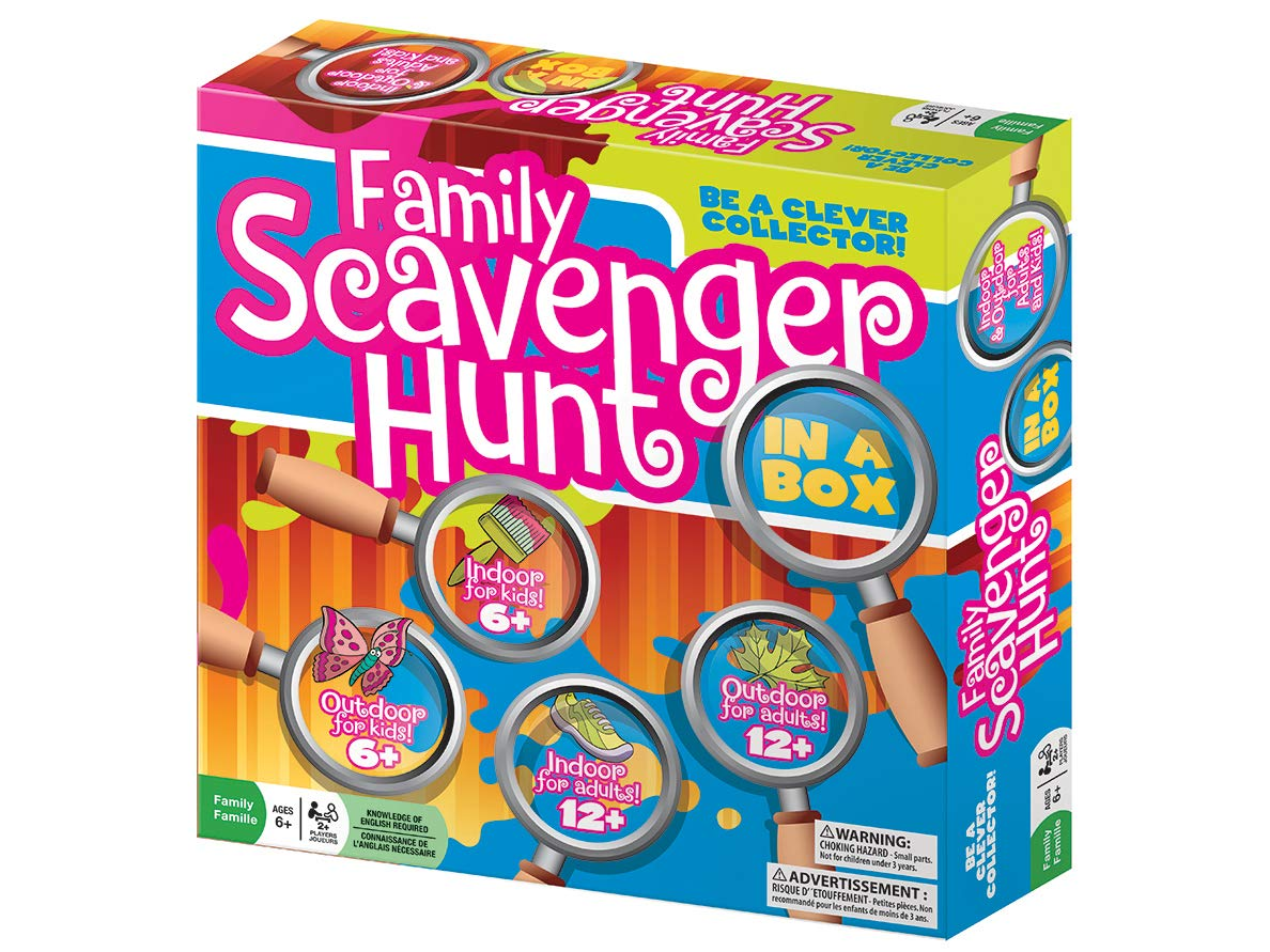 Family Scavenger Hunt In A Box by Outset Media - Indoor and Outdoor Seek And Find Board Game with 280 Adult and Kid Fun Challenge Cards - Ages 6 and Up