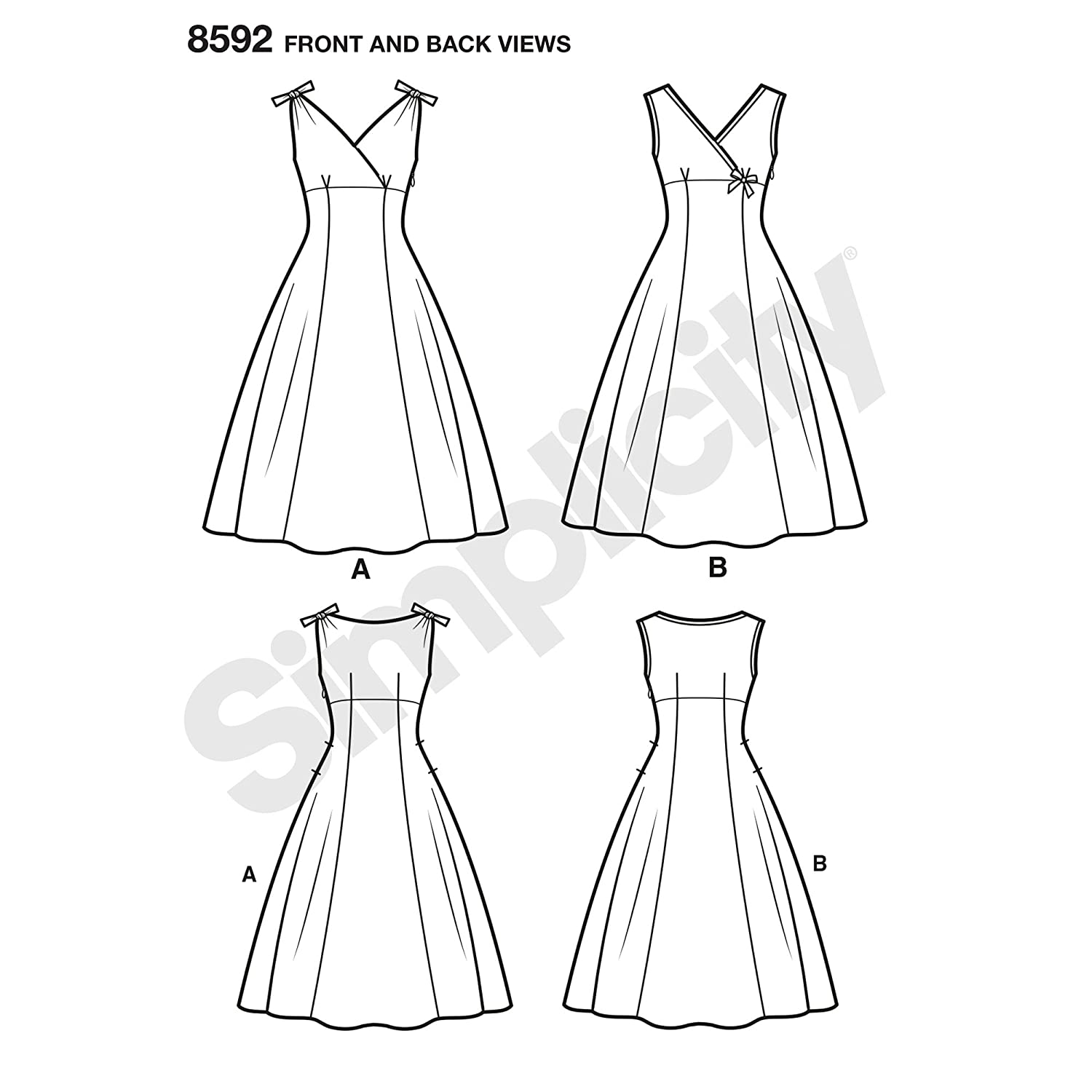 Amazon.com: Simplicity Vintage US8592BB Sewing Pattern Dresses BB (20W-28W) TAN: Arts, Crafts & Sewing