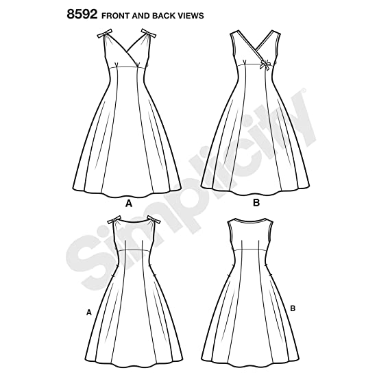 Amazon.com: Simplicity Vintage US8592AA Sewing Pattern Dresses AA (10-12-14-16-18): Arts, Crafts & Sewing