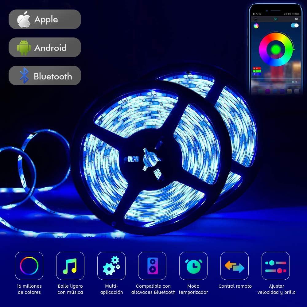 Tira Led 10m, 32.8 Pies Luces de Cuerda Led, con 20 Teclas Controlador Remoto IR y Aplicación Tiras Led Controlada por Bluetooth Para el Hogar Cocina Fiesta de Bodas de Navidad Decoración de Bricolaje