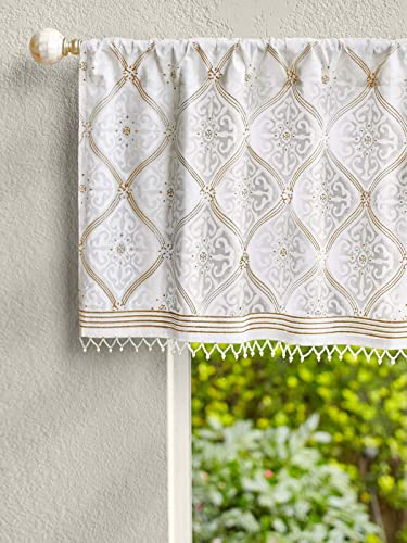 Saffron Marigold – Vanilla Glace – White and Gold Romantic Elegant Luxury Hand Printed – Sheer Cotton Voile Window Valance Curtain – Rod Pocket – 46 x 17 inches