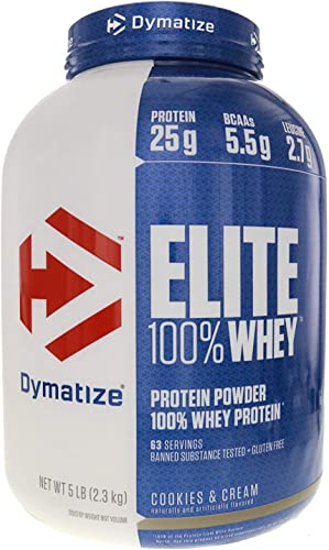 Dymatize Elite Gourmet 100 Whey Sustained Release Protein, Cookies Cream, 5 Pound
