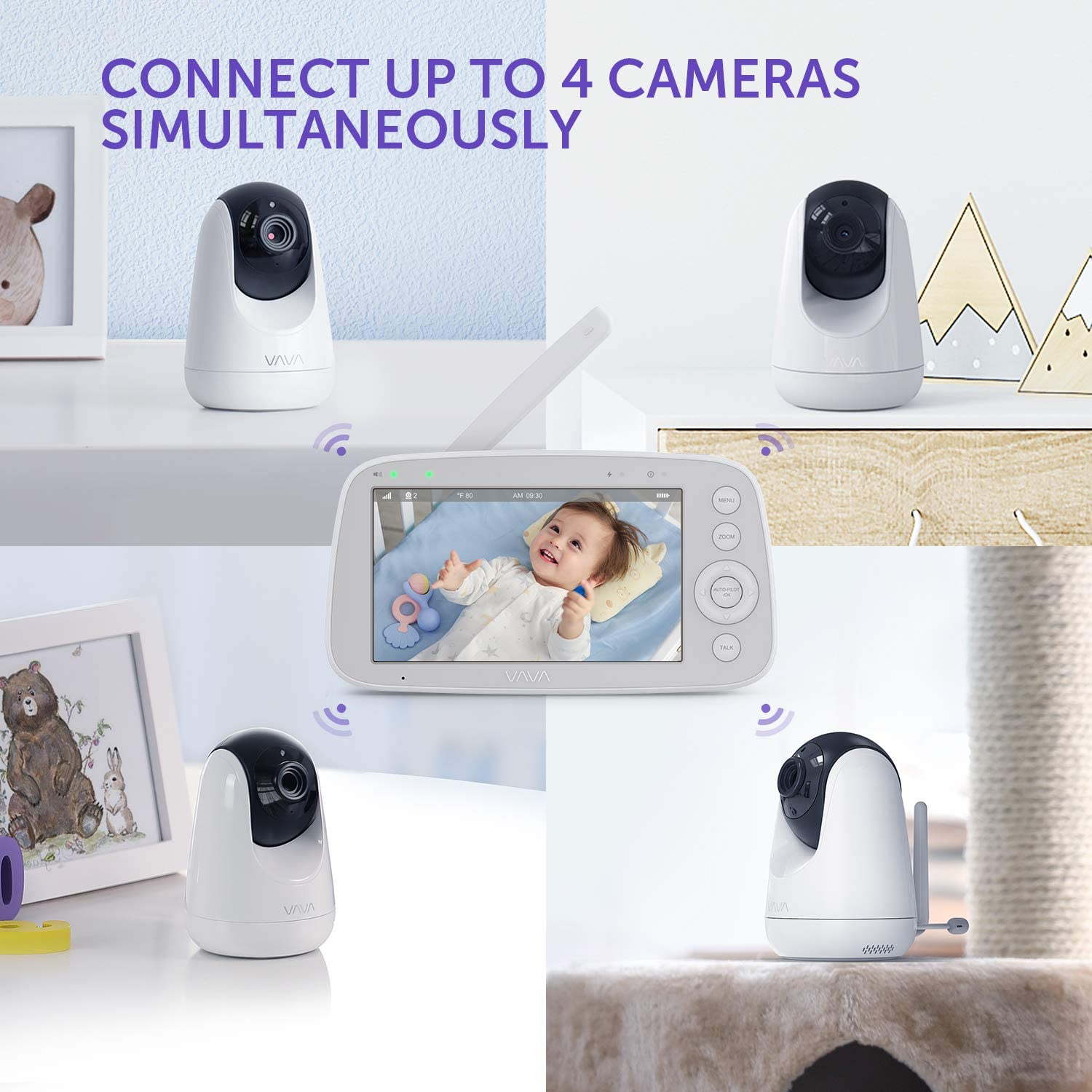 Scan View Additional Camera Unit for VAVA Baby Monitor 720p HD Resolution
