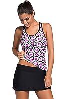 EVALESS Women's Halter Printed Tankini Top With Skirted Bikini Bottom Swimsuit Set