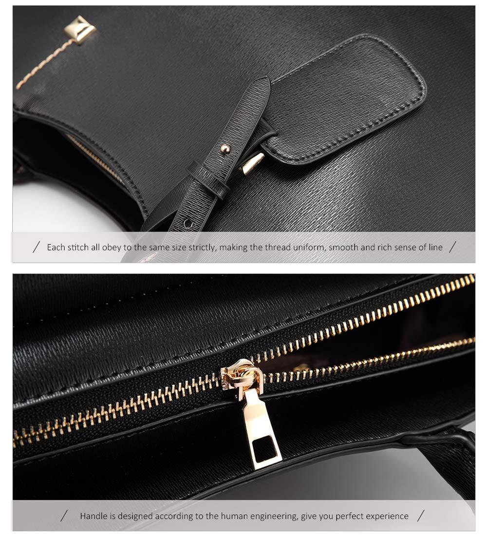 MIMI KING Einfache Handtasche Frauen Large-Wannen-Beutel-Schulter-Beutel PU-Leder-Damen Totes Messenger Bag Top-Griff Taschen Black