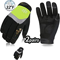 Vgo 2Pairs 0℃/32℉ or Above 3M Thinsulate C40 Lined High Dexterity Touchscreen Synthetic Leather Winter Warm Work Gloves,Waterproof Insert (Size XL,Black+Fluorescent Green,SL8775FW)