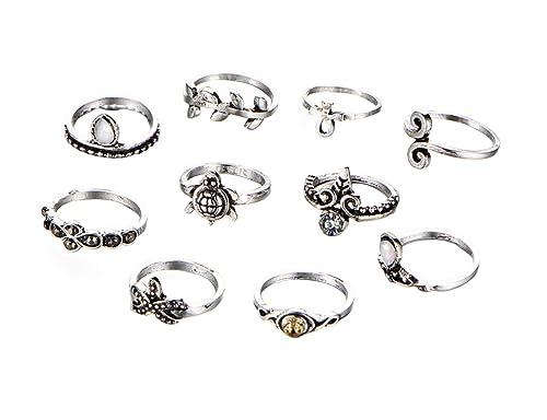 Amazon.com: AMDXD 10 piezas juego de anillo de mujer Tortuga ...