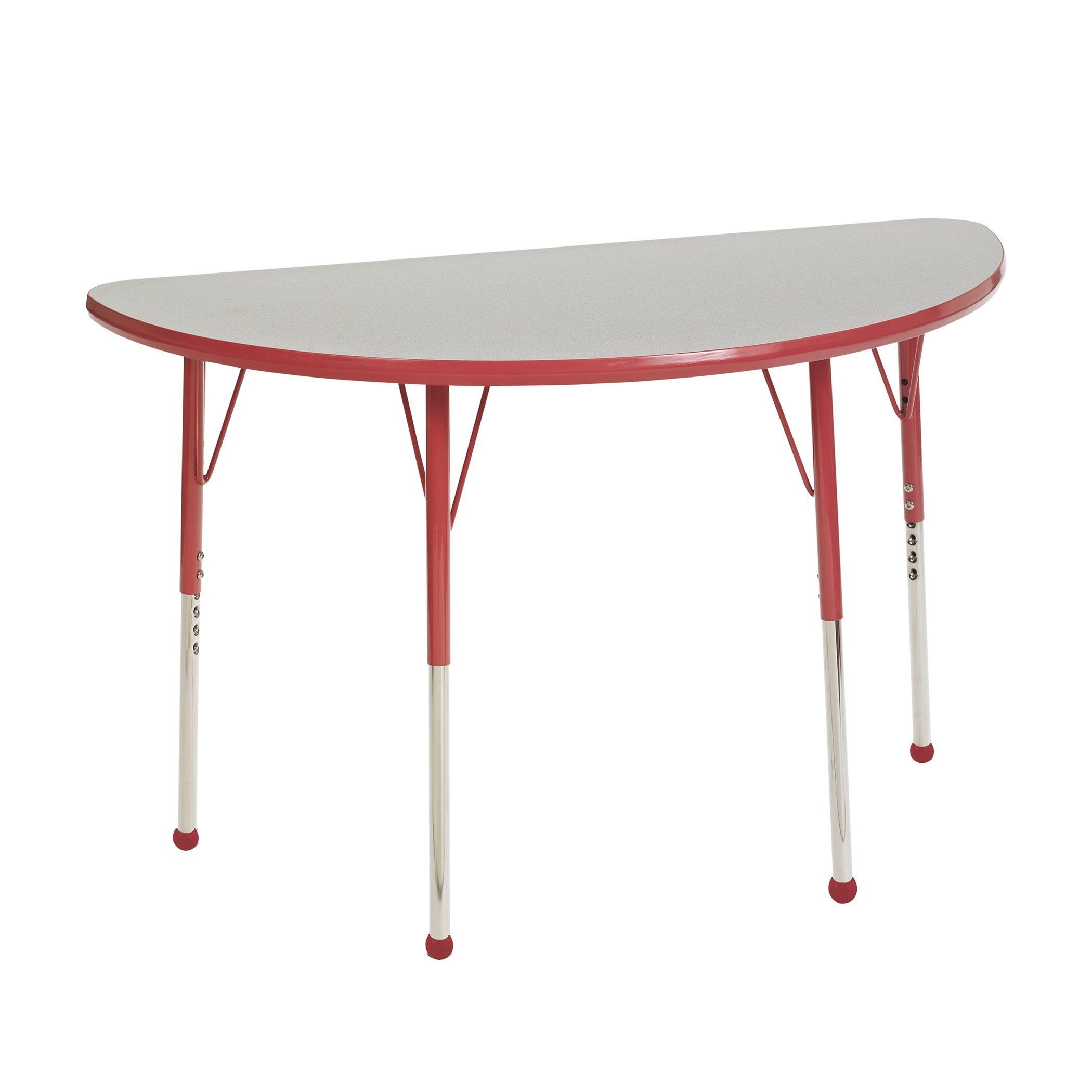ECR4Kids Mesa Thermo-fused 24'' x 48'' Half Round School Activity Table, Standard Legs w/ Ball Glides, Adjustable Height 19-30 inch (Grey/Red)