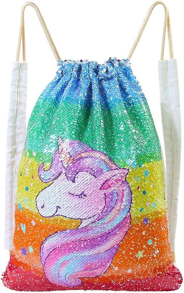 DRESHOW Pack de 4 Unicornios Mochila con cordón/Maquillaje Bolsa/Collar de cadena de aleación/Fluffy Llavero colgante Llavero para niñas