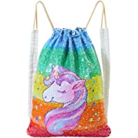 DRESHOW 4 Pack Unicorn Drawstring Backpack/Make Up Bag/Necklace Alloy Chain/Fluffy Key Chain Pendant Key Ring for Girls