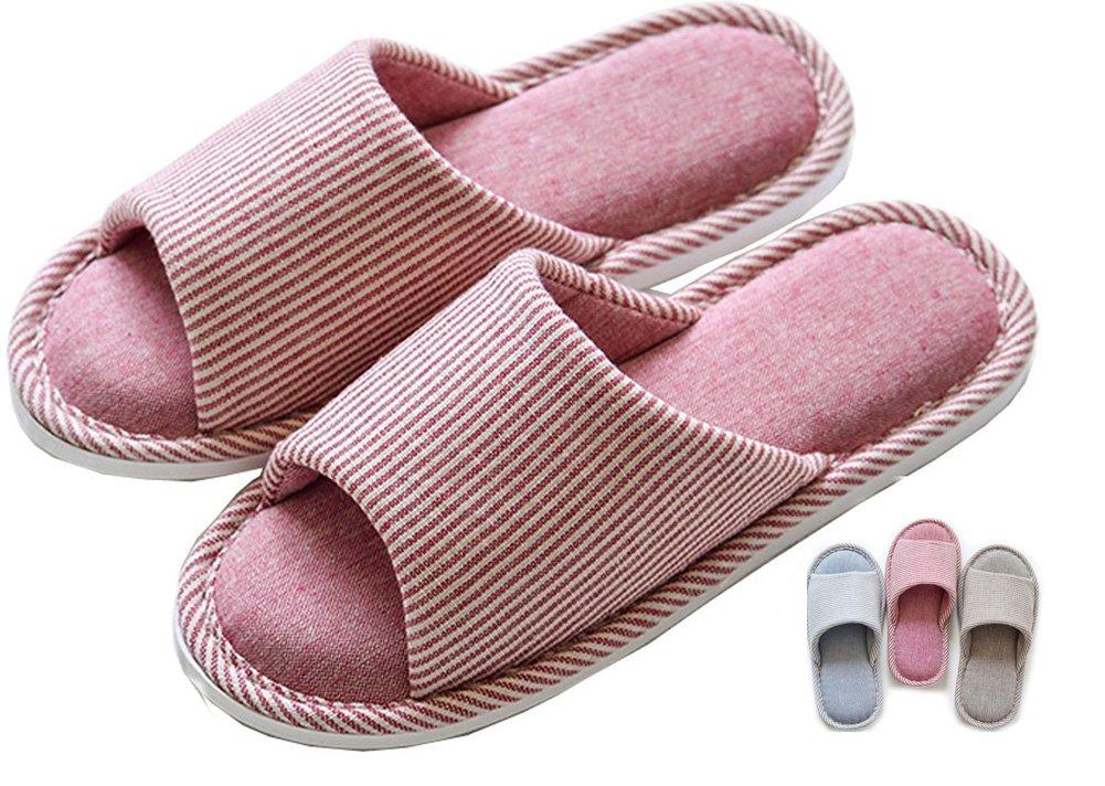Asifn Pantofole Interne in casa Cotone Accappatoio Memory Foam Cotton Foam Pantofole Casa Casual Pantofole Open-Toes Spessa Grossa Pattini a Striscia a Strisce pink vertical