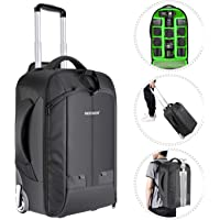 Neewer 2-in-1 Convertible Wheeled Camera Backpack Luggage Trolley Case with Double Bar, Anti-Shock Detachable Padded…