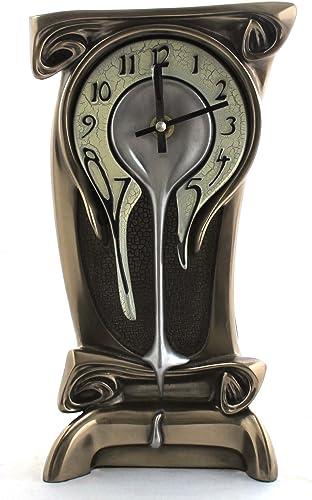 11.25 Inch Melting Warped Clock Polished Bronze Cracked Eggshell Face