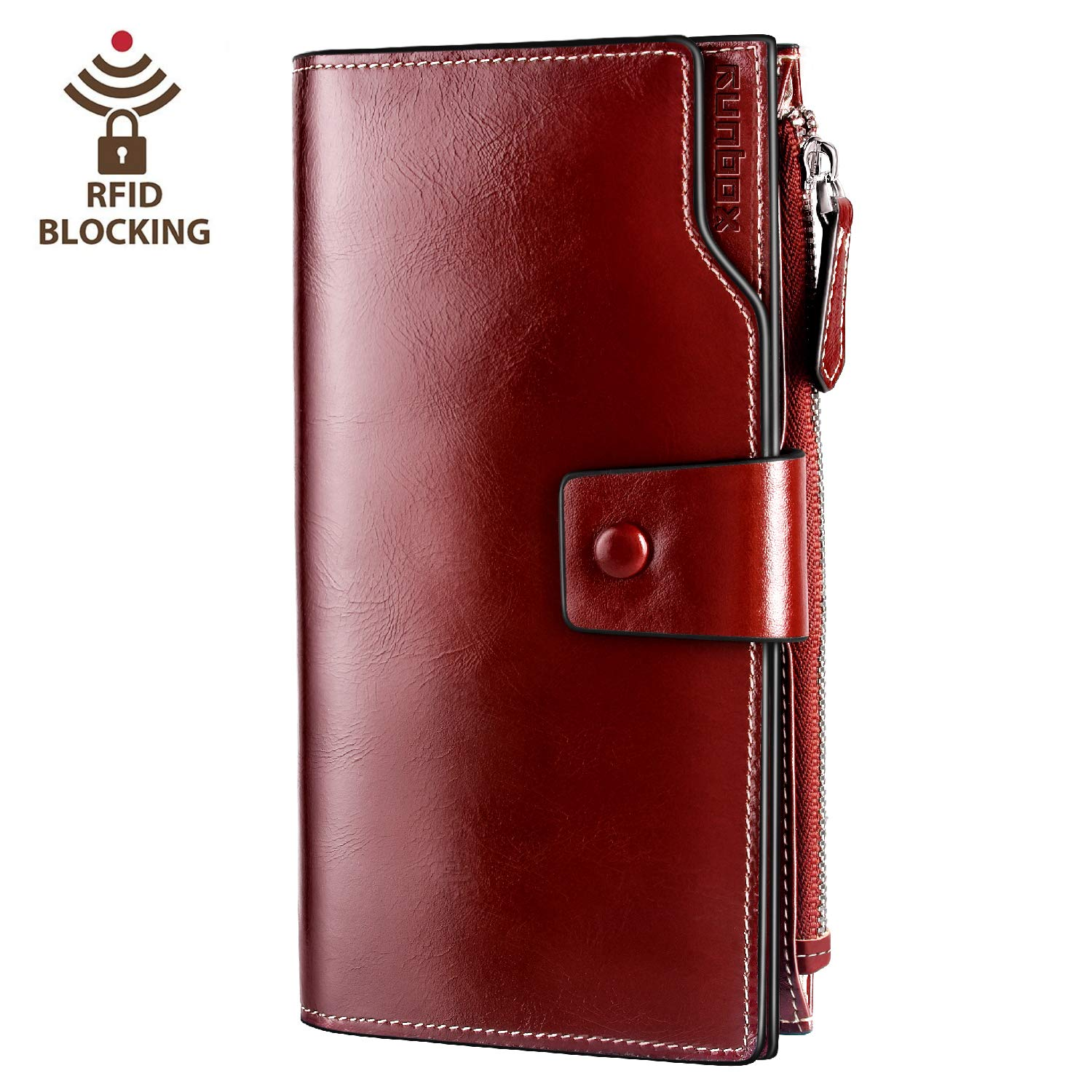 Women's RFID Blocking Large Capacity Luxury Wax Genuine Leather Clutch Wallet Card Holder by RUNBOX