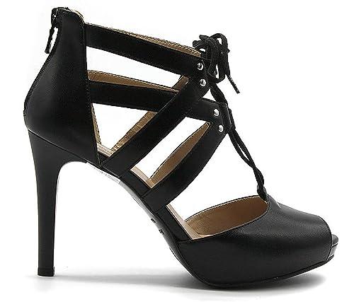 Sandali lace up Nero Giardini P805430 100 5430 in pelle nera
