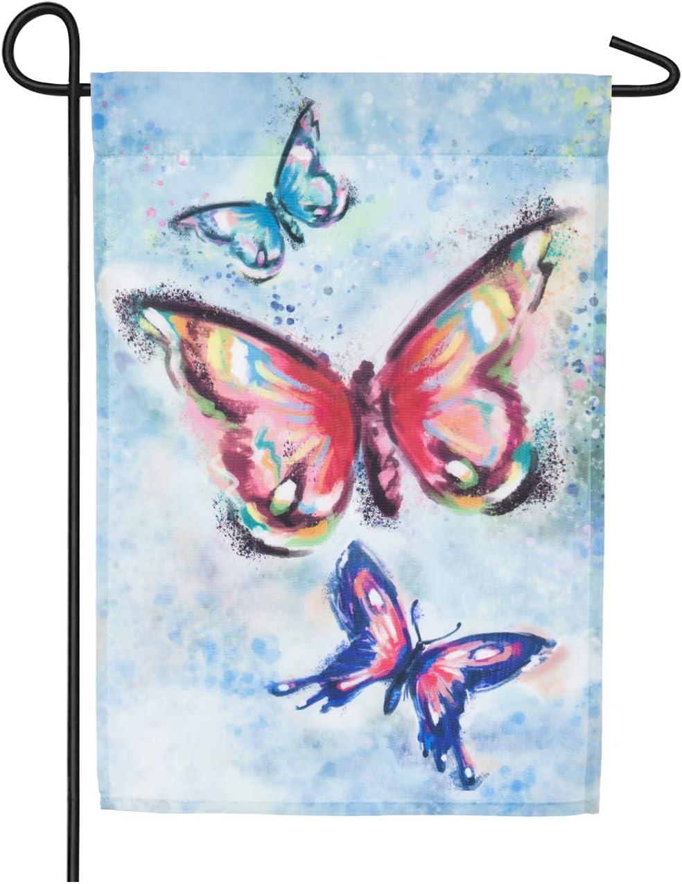 Amazon Com Evergreen Flag Watercolor Butterfly Kaleidoscope Organza Garden Flag 12 5 X 18 Inches Outdoor Decor For Homes And Gardens Garden Outdoor