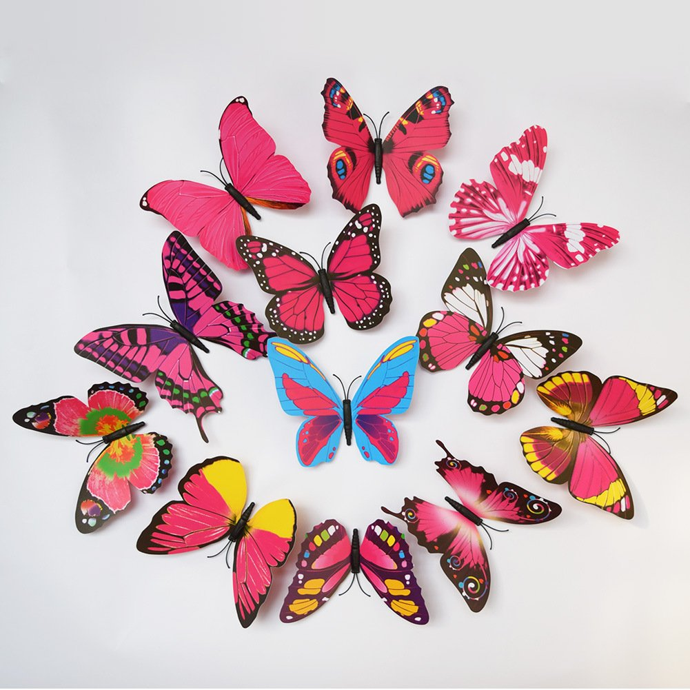 amazon com elecmotive 24 pcs 3d butterfly new home decoration diy amazon com elecmotive 24 pcs 3d butterfly new home decoration diy removable 3d vivid special man made lively butterfly art diy decor wall stickers for wall
