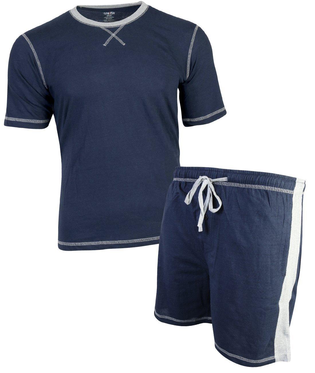 TruFit Men's 2-Piece Short Sleeve Shirt and Shorts Pajama Set, Navy, XX-Large'