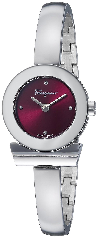 Salvatore Ferragamo Gancino Bracelet Damen Quarzuhr mit Burgund Dial und Edelstahl Armreif FQ5090016
