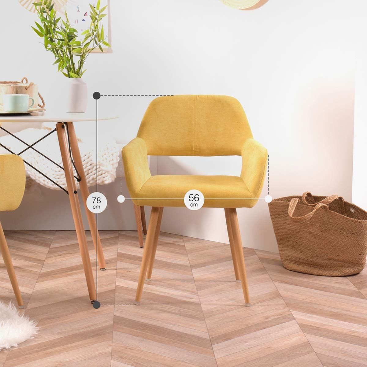 FURNISH1 Lot de 2 Fauteuil Chaise de Salle /à Manger Scandinave en Tissu Beige M/étal Look Bois Ch/êne Design Salon Bureau Chambre Chaise de Bureau Bureau /à Domicile Travail /à Distance
