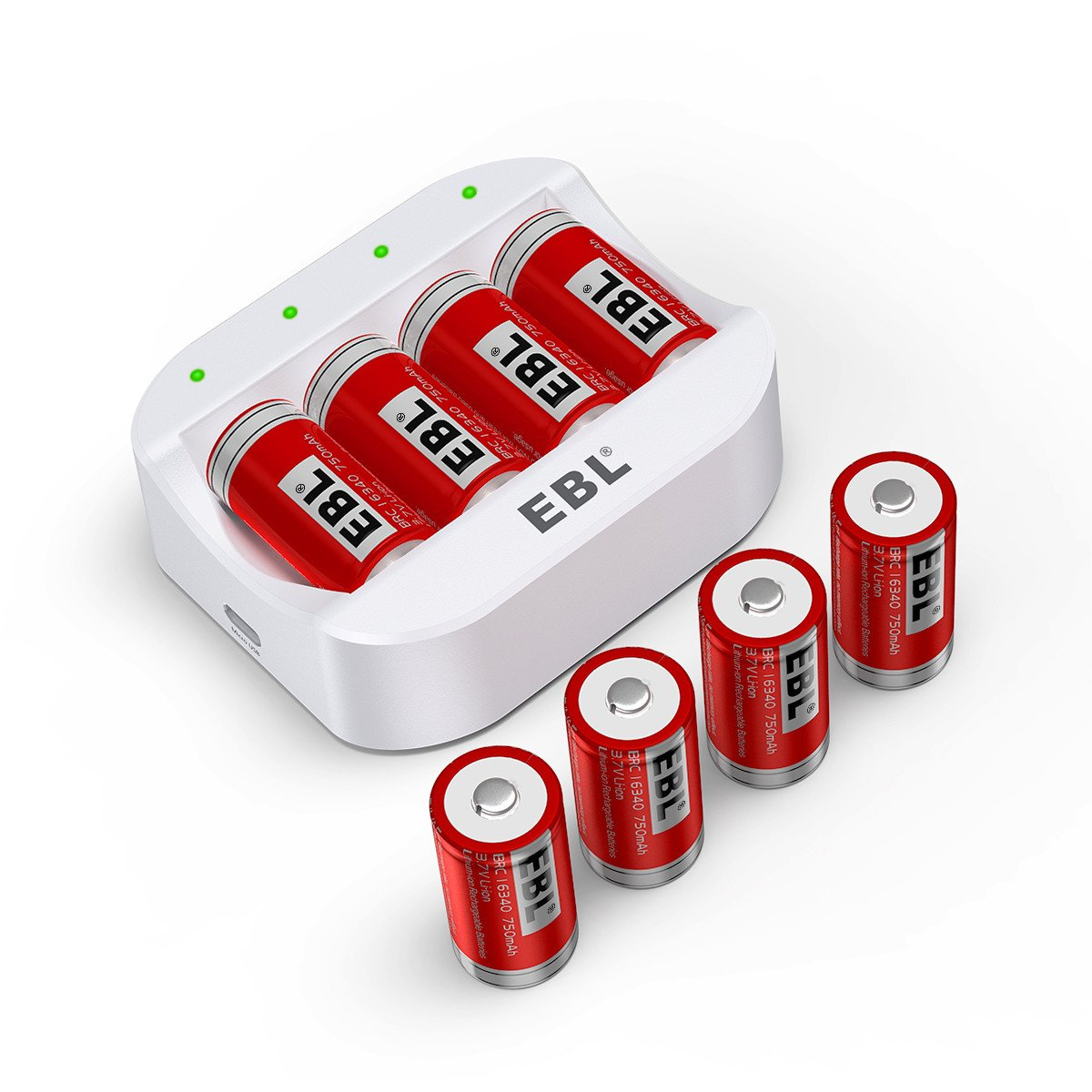 EBL RCR123A Rechargeable Batteries (8 Counts) 750mAh and Arlo Battery Charger - Ultra Fit for Arlo VMC3030 VMK3200 VMS3330 3430 3530 Wireless Security Cameras