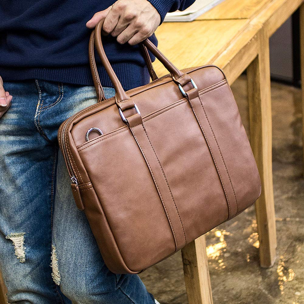 FeliciaJuan Mens Laptop Briefcase Business Messenger Bag Multi-Function Structure Bag